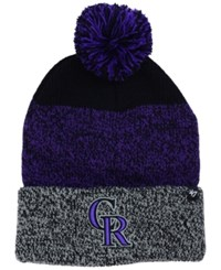 47 Brand '47 Colorado Rockies Static Pom Knit Hat Black Purple Gray