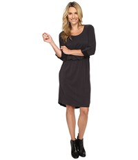 Bobeau Cedric Knit Rolled Sleeve Dress Charcoal Grey Women's Dress Gray