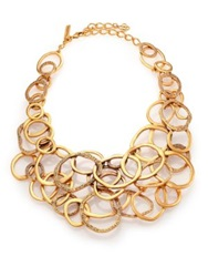 Oscar De La Renta Circle Cluster Bib Necklace Gold