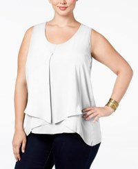 Ny Collection Plus Size Inverted Pleat Top White