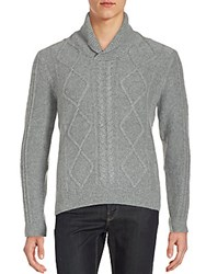 Saks Fifth Avenue Black Cable Knit Cashmere Sweater Dark Grey