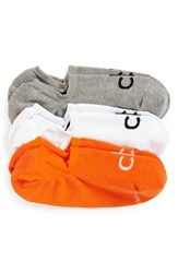 Calvin Klein Men's No Show Socks Orange 3 Pack Orange Grey White