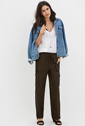 Forever 21 Wide Leg Cargo Pants Olive