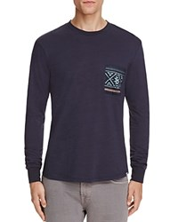 Sovereign Code Gus Graphic Long Sleeve Pocket Tee Navy Blue