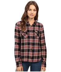 Volcom Cozy Day Cropped Long Sleeve Top Black Combo Women's Long Sleeve Button Up