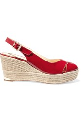 Paloma Barcelo Rojo Patent Leather Espadrille Wedge Sandals Red