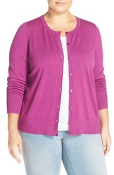 Sejour Plus Size Women's Crewneck Cardigan Purple Vintner