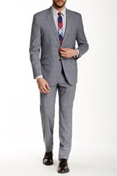 English Laundry Light Grey Taupe Plaid Two Button Notch Lapel Wool Suit Gray