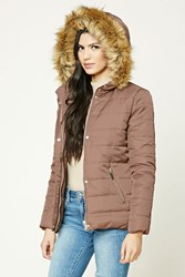 Forever 21 Faux Fur Trim Puffer Jacket