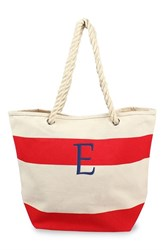Cathy's Concepts Personalized Stripe Canvas Tote Red Red E