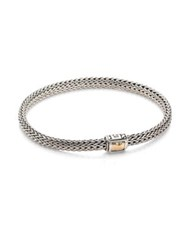 John Hardy Classic Chain Hammered Extra Small 18K Yellow Gold And Sterling Silver Chain Bracelet Silver Gold