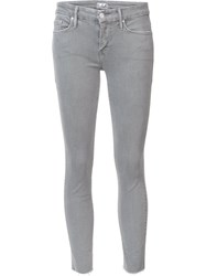 Mother Cropped Skinny Jeans Grey