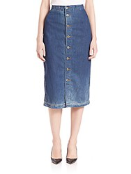 Ag Jeans Thea Calf Length Skirt Blue Denim