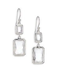 Ippolita Rock Candy Clear Quartz And Sterling Silver Snowman Rectangle Drop Earrings