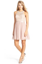 Sequin Hearts Lace Halter Skater Dress Blush