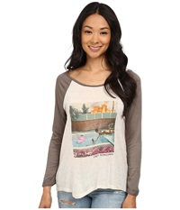 Obey Holiday In California Raglan Natural Army Women's T Shirt Neutral