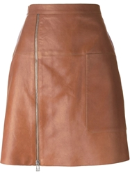 Belstaff Front Zip Mini Skirt Brown