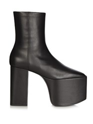 Balenciaga Platform Leather Ankle Boots Black