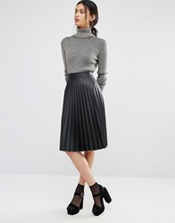 Oasis Leather Look Pleated Midi Skirt Black