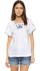 Madewell Embroidered Alma Peasant Top Eyelet White