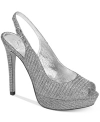 Adrianna Papell Rita Slingback Evening Pumps Women's Shoes Pewter