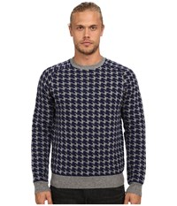 French Connection Dogstooth Knits Dark Grey Melange Marine Blue Men's Sweater Black