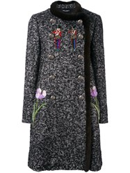 Dolce And Gabbana Mink Fur Trim Embellished Boucle Coat Black
