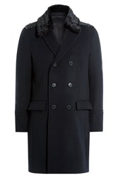 The Kooples Wool Coat With Faux Fur Collar Blue