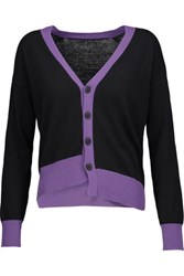 Tomas Maier Asymmetric Color Block Cotton Cardigan Purple