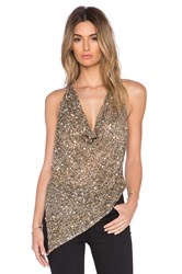 Haute Hippie Embellished Crop Cowlneck Tank Metallic Gold