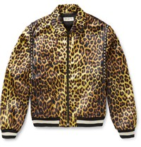 Saint Laurent Leopard Print Satin Harrington Jacket Animal Print