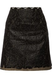 Tomas Maier Layered Coated Cotton Lace Mini Skirt Black