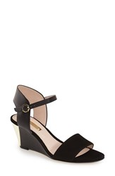 Women's Louise Et Cie 'Kami' Printed Wedge Sandal Black Leather