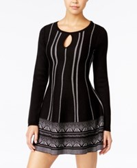 One Hart Juniors' Keyhole Fit And Flare Sweater Dress Black And White