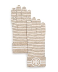 Tory Burch Striped Gloves Oatmeal