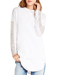 Bcbgeneration Faux Suede Sleeve Tunic White Combo