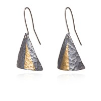 Mama Coca Geometric Keum Boo Hammered Earrings Black Gold Silver