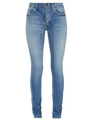 Saint Laurent Mid Rise Skinny Jeans Light Denim