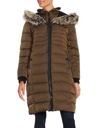 Bcbgeneration Faux Fur Trimmed Hooded Puffer Coat Olive