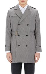 Brooklyn Tailors Men's Belted Double Breasted Trench Coat Grey