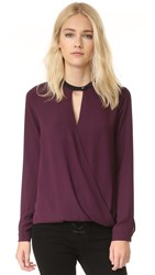 And B Long Sleeve Signature Blouse Dark Orchid