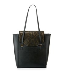 Neiman Marcus Mag Faux Leather Tote Bag Black