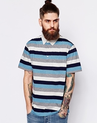 Patagonia Polo With Bold Stripe Regular Fit Blue