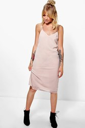 Boohoo Cami Double Strap Midi Dress Nude