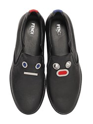 Fendi Faces Smooth Leather Slip On Sneakers