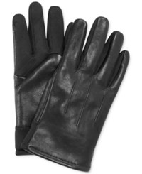 Fownes Ur Gloves Three Point Leather Sweater Knit Stretch Tech Palm Gloves Black