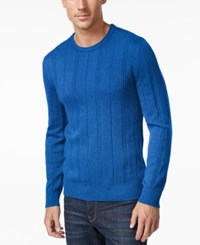 John Ashford Men's Big And Tall Crew Neck Striped Texture Sweater Only At Macy's City Blue
