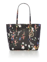 Guess Isabeau Black Floral Large Tote Bag Black Multi