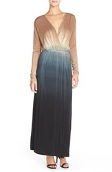 Women's Fraiche By J Tie Dye Faux Wrap Maxi Dress Taupe Black Dip