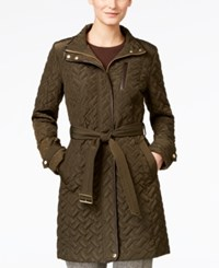 Cole Haan Faux Leather Trim Belted Quilted Coat Olive
